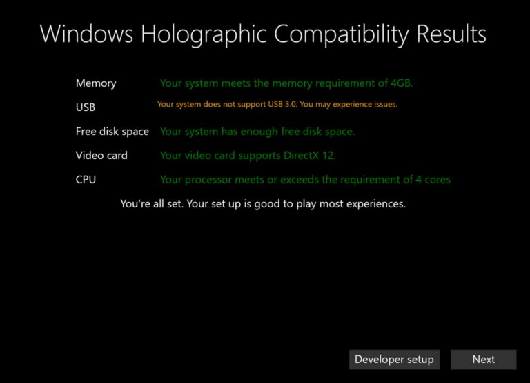 Windows Holographic Compatibility Results